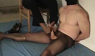 Stud in stockings and mature black footjob