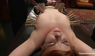 Ball-gagged And Constrained Up Ginger Stunner Have Played And Clothespinned