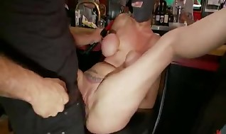 Fat Tittied Ash-blonde Nuts Screwed For A  Very first Ever Time In A Crowded Bar!