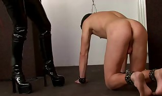 Leather flog mistress whips fool
