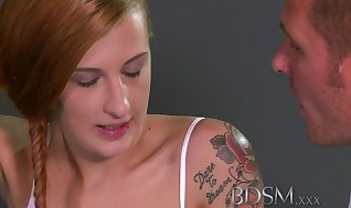Bondage & Discipline Gonzo Teenager slave chicks virginal face cascades with Masters scorching spunk