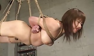 Molten whore hog tied and waving with warm bank check on her pouch