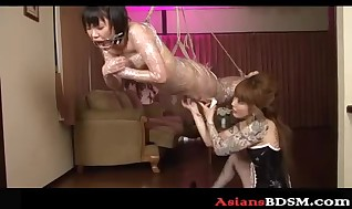Ultra-kinky looking Asian lady Domination & submission lezzie act p4