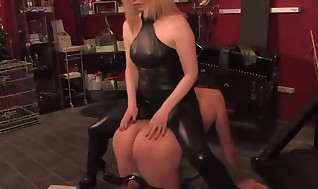 Domina masters a dick with electrosex