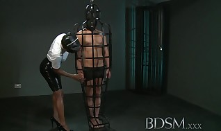 Bondage & Discipline Hardcore Encaged gimp gifted gets gonzo approach from his heavy and naughty Dominatrix
