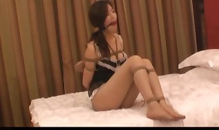 Splendid Chinese lady in engulfs sundress bounded in hotel p2