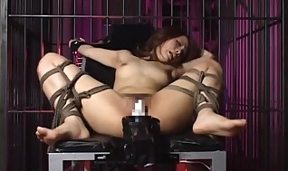 Asian hotty tied like a hog and nailed by playthings