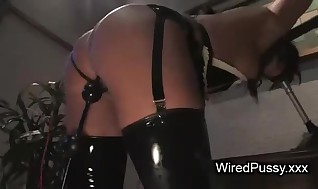 Nasty French maid is ladydick on nailed