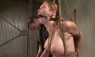 Tied like a hog hung slave gets fucktoy approach