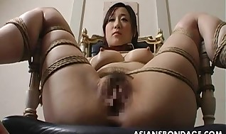 Extraordinary restrain bondage and faux-cock tart's for an Asian honey