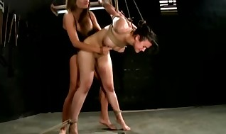 Hog tied fuckslut gets pegged by her croppings