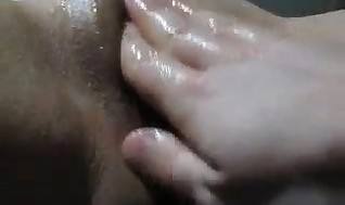 Frigging and going knuckle deep her korean vagina making her bust