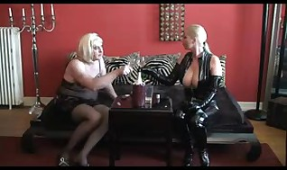 Dominatrix Harassment Belt cock & Doublefist Sissyslave