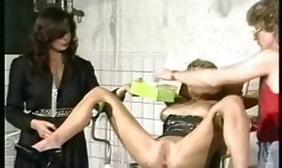 Scorching sub with kinky figure sitting in a stool got her beaver l
