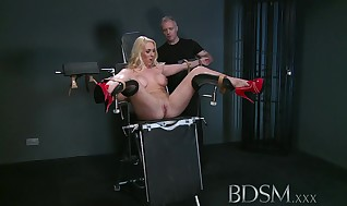 Bondage & Discipline Gonzo Provoking slave gets Masters anger before spraying all over the dungeon space floor