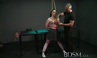 Bondage & Discipline Gonzo Ebony haired victim has funbags roped to the ceiling by her Tormentor before assfuck hook play